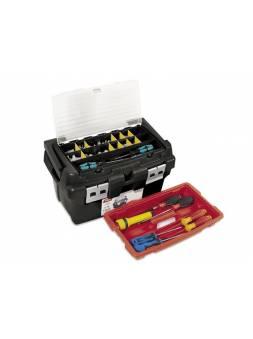 Ящик для инструмента пластмассовый 45x28,5x25см (со встроенным органайзером и лотком) (алюм.рукоятка, мет. замки) (TAYG)