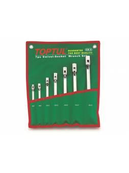 Набор ключей шарнирных с поворотной головкой 6-19мм TOPTUL