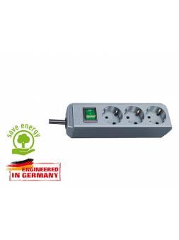 Удлинитель 1.5м (3 роз., 3.3кВт, с/з, выкл., ПВС) серебристо-серый Brennenstuhl Eco-Line