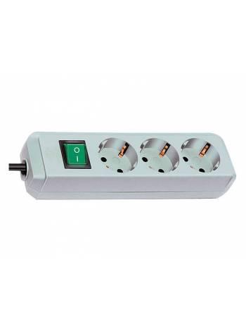 Удлинитель 1.5м (3 роз., 3.3кВт, с/з, выкл., ПВС) светло-серый Brennenstuhl Eco-Line