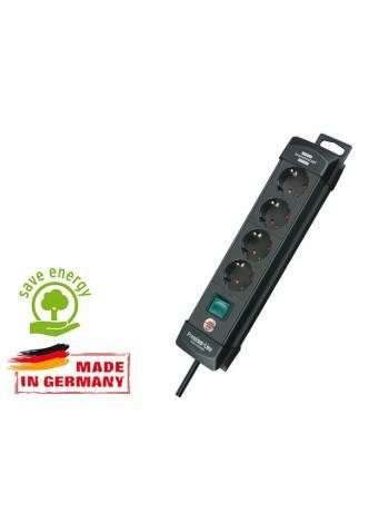 Удлинитель 1.8м (4 роз., 3.3кВт, с/з, выкл., ПВС) черный Brennenstuhl Premium-Line