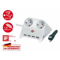 Удлинитель настол. 1.8м (2 роз., 4 USB порта, 3.3кВт, с/з, ПВС) Brennenstuhl бел. Desktop-Power-Plus