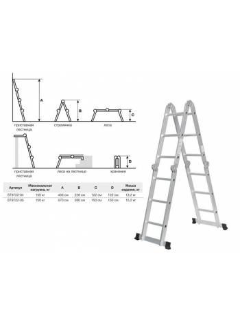 Лестница алюм. многофункц. 4х5 ступ. (стрем.-280см, лестн.-570см) 15,2кг STARTUL (ST9722-05) (шарнирная многофункциональная)
