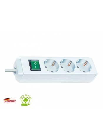 Удлинитель 5м (3 роз., 3.3кВт, с/з, выкл., ПВС) белый Brennenstuhl Eco-Line