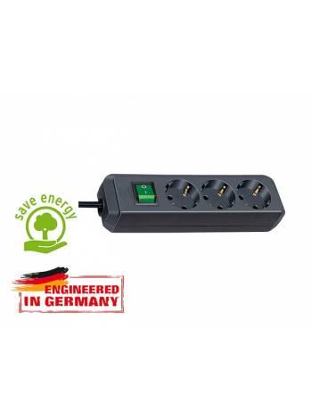 Удлинитель 5м (3 роз., 3.3кВт, с/з, выкл., ПВС) черный Brennenstuhl Eco-Line