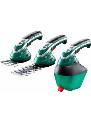 Аккумуляторные ножницы садовые BOSCH ISIO 3 в кейсе + насадка-кусторез (3.6 В, 1 акк., 1.5 А/ч, Li-Ion, шир. ножей 80 мм)