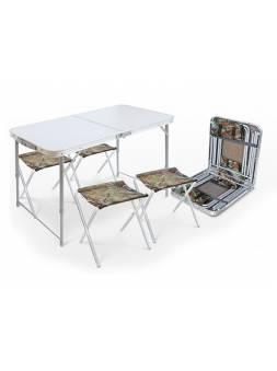 Набор складной стол влагостойкий и 4 стула, NIKA (Складной стол влагостойкий + 4 стула)
