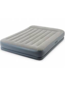Надувная кровать с подголовником Queen (Квин), 152х203х30 см, встроенный электрич. насос, INTEX