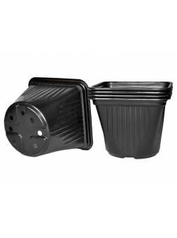 Горшок для рассады квадратный, 130х130х105 мм, черный, PERFECTO LINEA (объем: 1200мл, материал: полистирол)