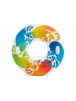 Надувной круг для плавания с ручками Color Whirl, 122 см, INTEX (от 9 лет)
