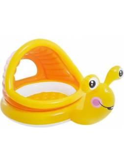 Надувной детский бассейн с навесом Ленивая улитка, 145х102х74 см, INTEX (для детей от 1 до 3 лет)