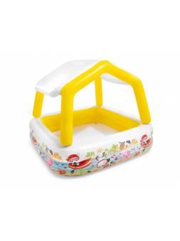 Надувной детский бассейн с навесом Sun Shade, 157х157х122 см, INTEX (от 2 лет)