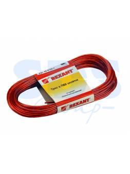 Трос стальной в ПВХ оплетке d=2,0 мм, красный ( моток 20 м)  REXANT
