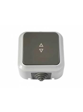 Выключатель 1 клав. проходной (открытый, 10А, брызг. защ.) серый, Пралеска Аква, BYLECTRICA (IP54 пылебрызгозащищенные)