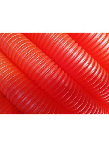 Трубка защитная гофрированная 25мм бухта 50м красная (для 18-20 трубы) (Пешель для 18-20 трубы) (AV Engineering)