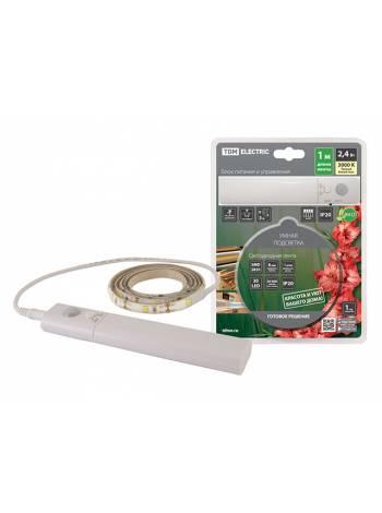 Подсветка умная SMD2835-30LED/m-IP20-5В-2,4Вт-3000 К(1 м), датчик движ., 4хААА TDM (Если  батарейки TDM - AAA Alkaline 1,5V, то время работы - 2,5 час