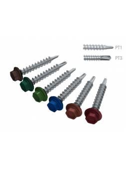 Саморез кровельный 4.8х29 мм цинк, шайба с прокл., PT1, RAL 8019 (200 шт в карт. уп.) STARFIX (по дереву, цвет серо-коричневый)
