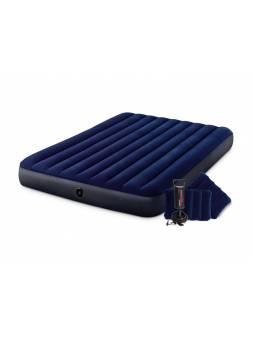 Надувной матрас Queen Classic Downy, 152х203х25 см + 2 подушки и насос ручной, INTEX