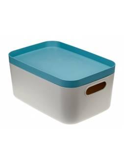 Ящик для хранения с крышкой ИНФИНИТИ 29,5х20х14,5 см (серо-голубой) (IDEA)