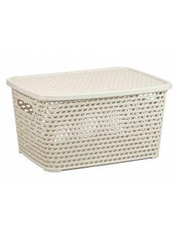 Ящик для хранения с крышкой РОТАНГ 370х280х190мм (бел.) (IDEA)