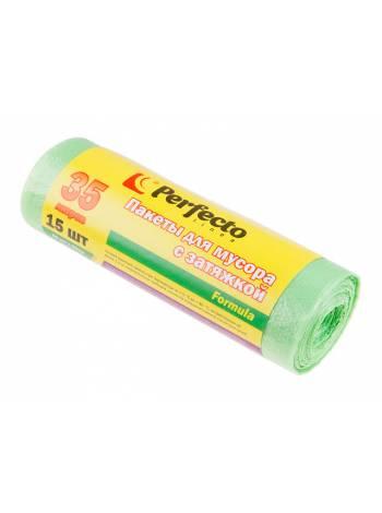 Пакеты для мусора Formula с затяжкой, 35 л, 15 шт., PERFECTO LINEA
