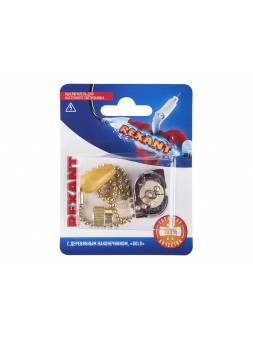 Выключатель для настенного светильника REXANT c деревянным наконечником, золотой, 1 шт.