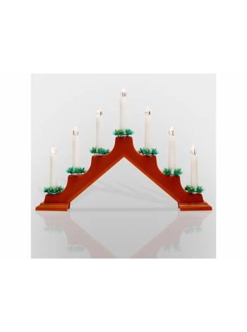 Новогодняя горка 7 свечек, цвет корпуса: Красный, цвет свечения: ТЕПЛЫЙ БЕЛЫЙ (NEON-NIGHT)
