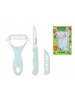Набор ножей 2 шт. (нож кух.16 см, нож для овощей 13см), серия STARCOOK, PERFECTO LINEA (Материал: керамика, полипропилен)