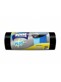 Пакеты для мусора 90л/20шт NV Plus (Материал / Цвет: LDPE / Чёрный . Размер единицы: 70 x 94 см.Толщина: 24 мкм) (NOVAX)