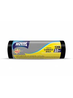 Пакеты для мусора 120л/10шт NV (Материал / Цвет: LDPE / Чёрный . Размер единицы: 70 x 109 см.Толщина: 18 мкм) (NOVAX)