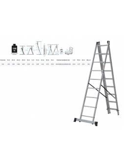 Лестница алюм. 3-х секц. 316/552/316см 3х9 ступ., 10,3кг  NV1230 Новая Высота (макс. нагрузка 150кг)