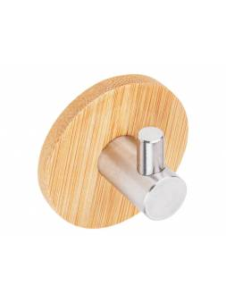 Крючок самоклеящийся VIRGO, нержавеющая сталь/бамбук, карт.уп., PERFECTO LINEA