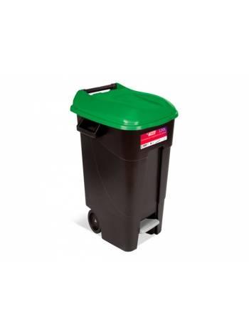 Контейнер для мусора пластик. 120л с педалью (зелен. крышка) TAYG