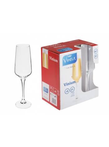 Набор бокалов для шампанского, 6 шт., 210 мл, 210х60 мм, серия Vinium, VINTIA (V055340)