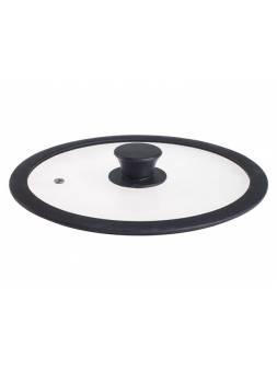Крышка стеклянная, 240 мм, с силиконовым ободом, плоская, черная, PERFECTO LINEA