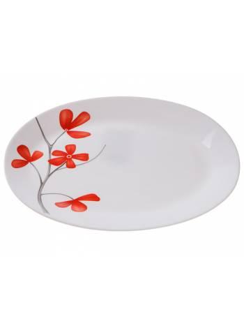 Блюдо стеклокерамическое, 320 мм, овальное, серия Цветок вишни, DIVA LA OPALA (Collection Ivory  Прекрасный подарок)