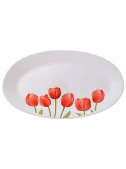 Блюдо стеклокерамическое, 320 мм, овальное, серия Сад тюльпанов, DIVA LA OPALA (Collection Ivory  Прекрасный подарок)