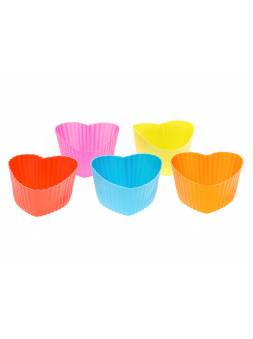Набор форм для выпечки, силиконовые, сердце, 6 х 5 х 3 см, 5 шт., PERFECTO LINEA