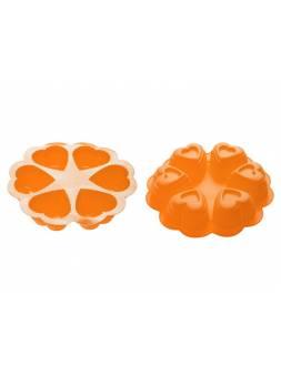 Форма для выпечки, силиконовая, круглая на 6 сердец, 25 х 4.5 см, оранжевая, PERFECTO LINEA