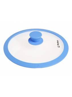 Крышка стеклянная, 260 мм, с силиконовым ободом, круглая, голубая, PERFECTO LINEA