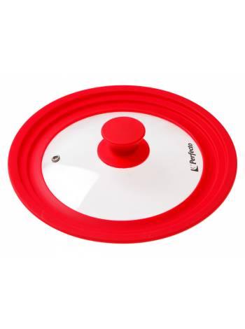 Крышка стеклянная, 220-240-260 мм, с силиконовым ободом, круглая, красная, PERFECTO LINEA (Универсальная модель сразу трёх размеров!)