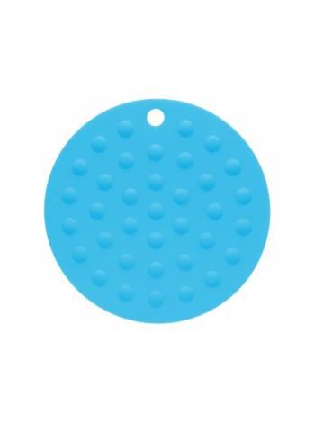 Коврик под горячее силиконовый, круглый, 17.5 х 0.2 см, голубой, PERFECTO LINEA (Супер цена!)