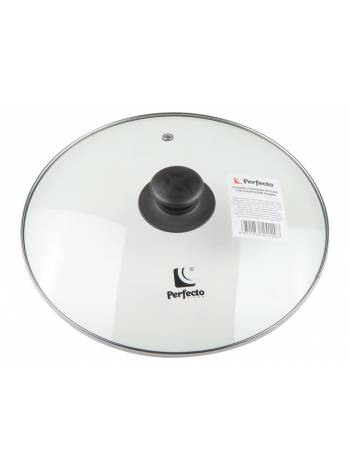 Крышка стеклянная, 228 мм, с металлическим ободом, круглая, PERFECTO LINEA (Супер цена!)