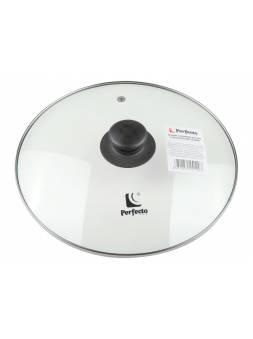 Крышка стеклянная, 268 мм, с металлическим ободом, круглая, PERFECTO LINEA (Супер цена!)