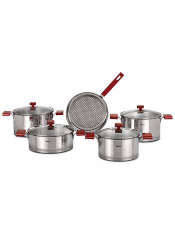 Сковорода ф 24х6, из нерж.стали, фурнитура красная, серия Milano Red, HISAR