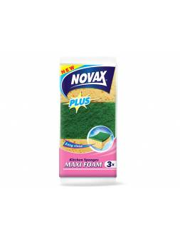 Губки кухонные MAXI FOAM 3шт NV Plus (Материал: Пенополиуретан + фибра. Цвет: Бежевый. Размер единицы: 100 x 66 x 38 мм) (NOVAX)