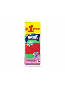 Губки кухонные антибактериальные 3+1шт NV Plus (Материал: Пенополиуретан + фибра. Цвет: Зеленый и красный. Размер единицы: 95 x 63 x 31 мм ПРОМО-поз)