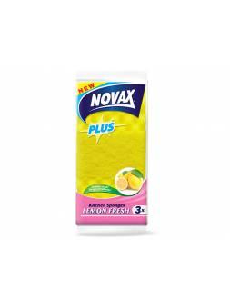 Губки кухонные ароматизированные 3шт NV Plus (Материал: Пенополиуретан + фибра. Цвет: Жёлтый. Размер единицы: 95 x 63 x 37 мм) (NOVAX)