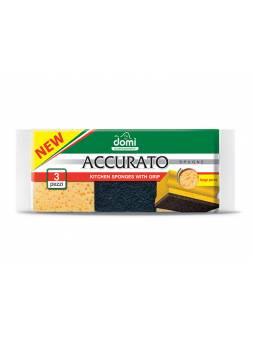 Губки кухонные профилированные 3 шт DOMI (Состав: поролон- желтый, фибра- черная. Размер губки: 95х70х49мм)