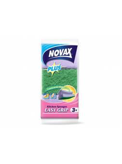 Губки кухонные профилированные 3шт NV Plus (Материал: Пенополиуретан + фибра. Цвет: Зеленый/Фиолетовый. Размер единицы: 90 x 60 x 48 мм) (NOVAX)